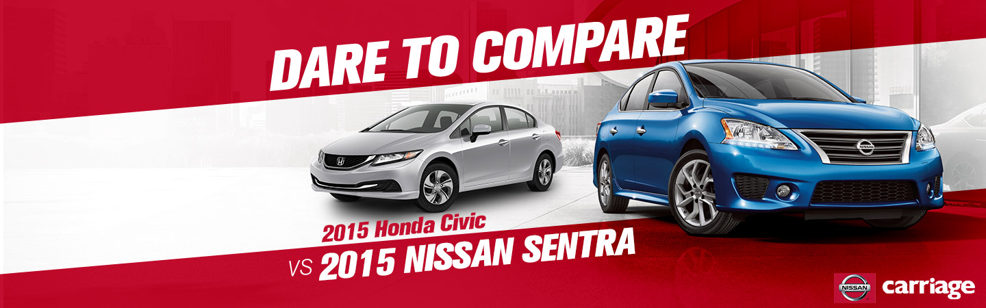 ... Vs The 2015 Honda Civic. 2015 Nissan Sentra