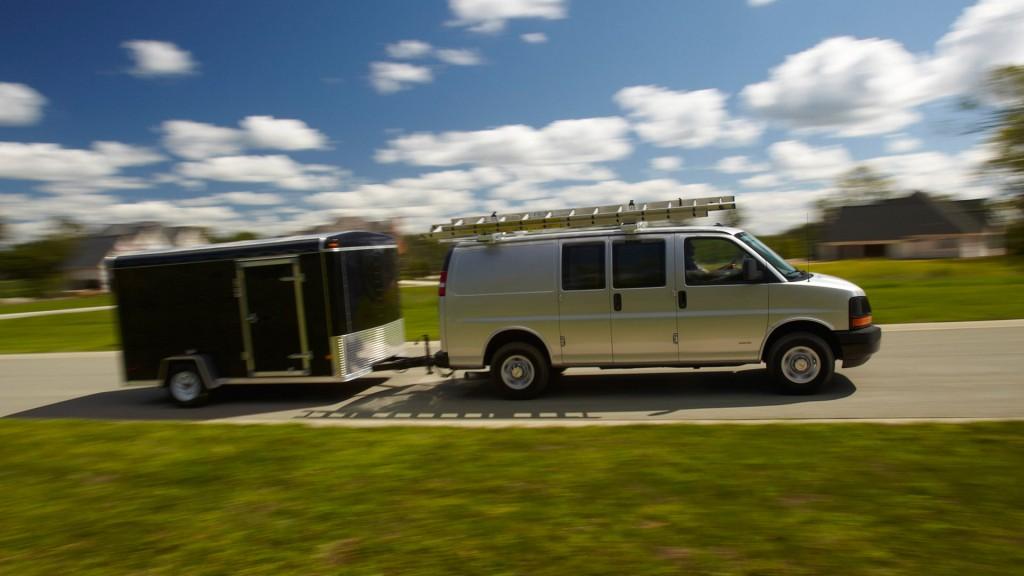 2016 Chevrolet Express Cargo hauls trailer