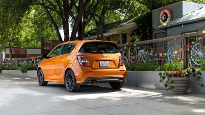2017 Chevrolet Sonic orange rear view