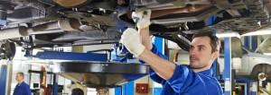 Mechanic working on a car