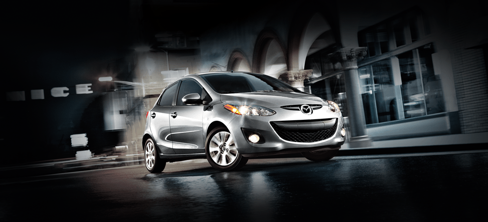 Silver Mazda hatchback