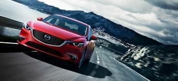 Red Mazda sedan