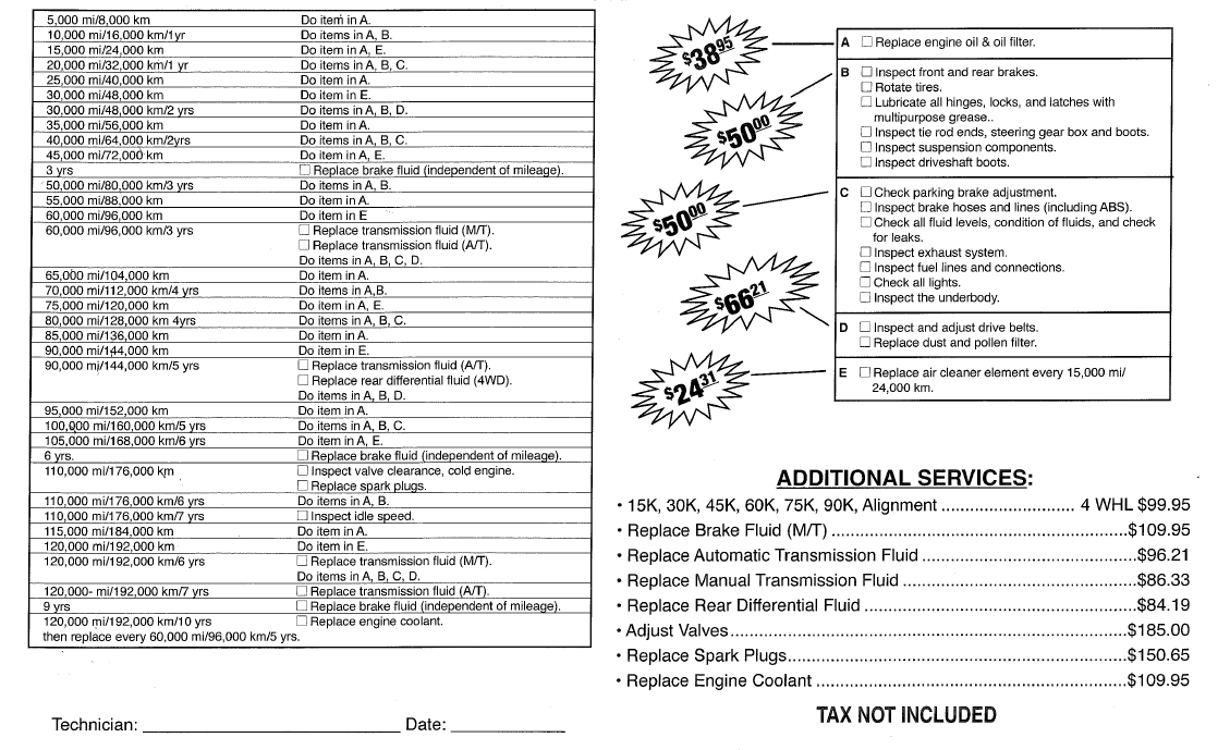 2006 honda crv maintenance schedule