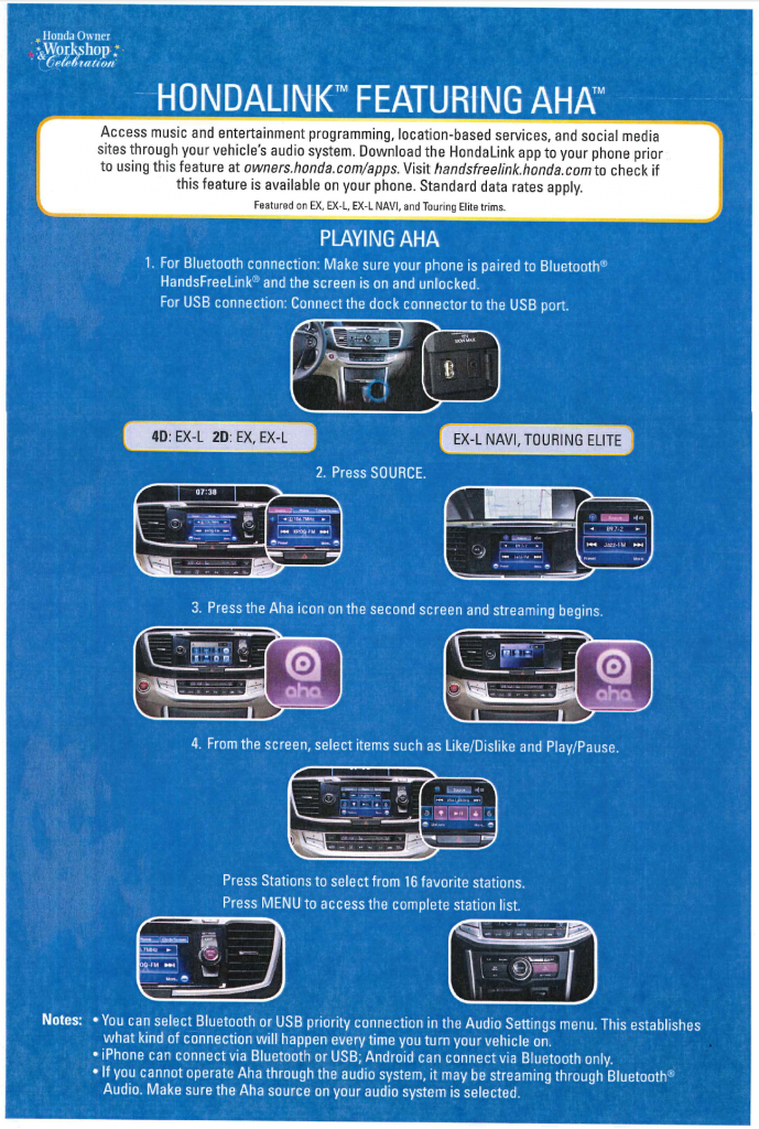 Hondlink features aha