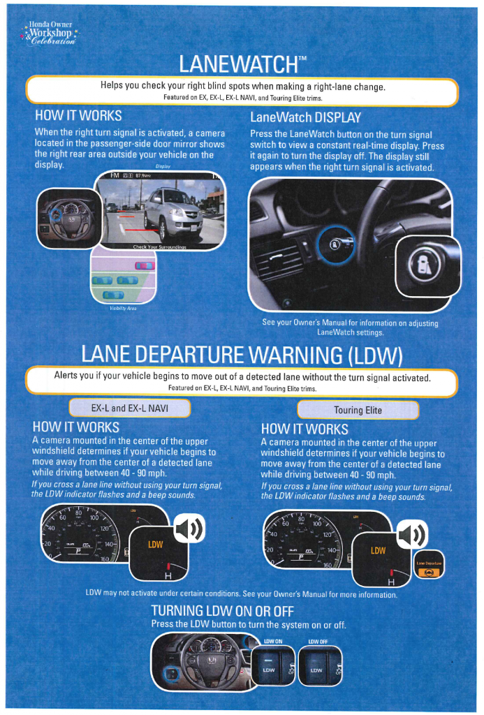 How to use Honda LaneWatch and Lane Departure Warning
