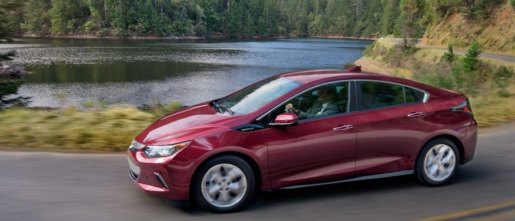 2017 Chevrolet Volt profile view in red