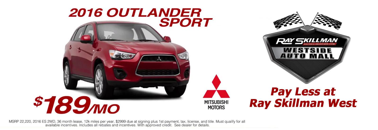 2016 Mitsubishi Outlander Sport $189