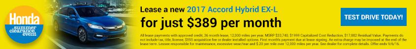 Summer Clearance 2017 Honda Accord Hybrid EX-L
