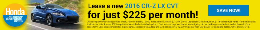 Summer Clearance 2016 Honda CR-Z LX