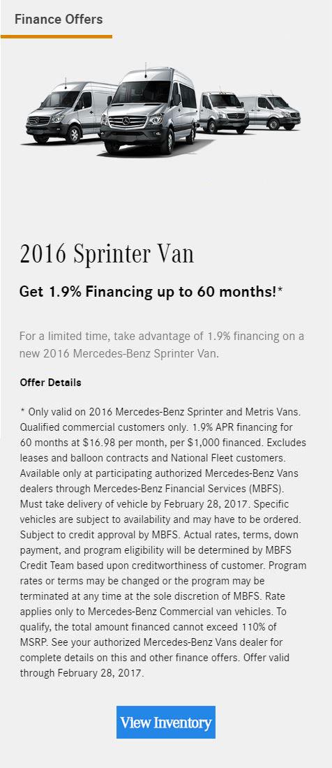 Mercedes benz vans offers garage isla verde for Mercedes benz financial lease agreement