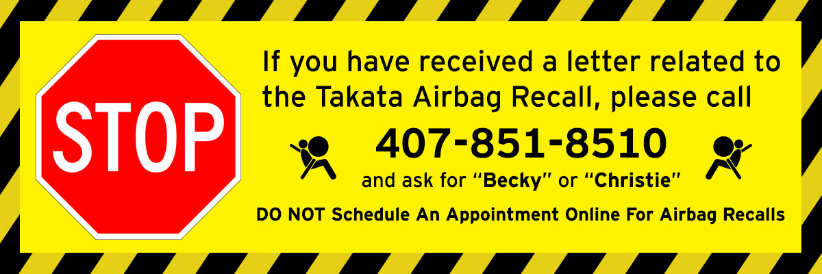 Do Not schedule an online appointment for airbag recalls