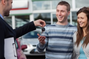 Couple getting car keys